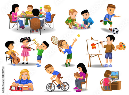 collection of children doing different school and leisure time