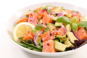 Fotobehang - salmon fish salad with avocado
