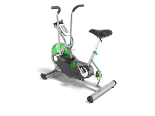 Exercise bike green metallic with green insets perspective 3d render on white background with shadow