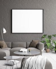 Mock up poster frame in modern interior background, 3D render