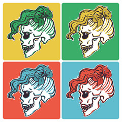 Colorful vector set of girl skull head with hipster hairstyle and big bow on different color backgrounds, isolated poster design