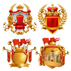 Royal coat of arms. King and kingdom, 3d vector emblem set