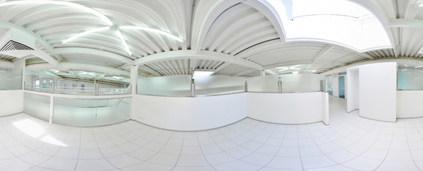 Spherical 360 degrees panorama projection, in interior empty long corridor with doors and entrances to different rooms.