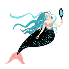 Funny cartoon mermaid with a mirror. Cute isolated vector illustration on white background
