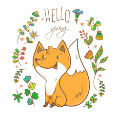 Vector spring card with cute cartoon fox. Flowers and plants of spring time. Vector contour colorful image.