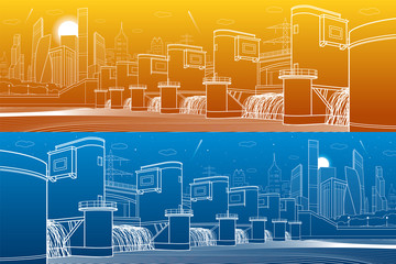 Hydro power plant. River Dam. Energy station. City infrastructure industrial illustration panorama. White lines on blue and orange background. Vector design art