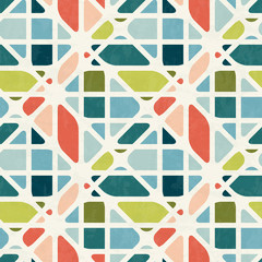 Abstract seamless pattern in mid-century modern colors, vector illustration with texture