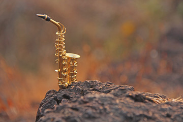 The golden alto saxophone stands on a black stone. Romantic musical background. Musical cover and creative