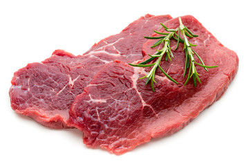 Fresh raw beef steak isolated on white.