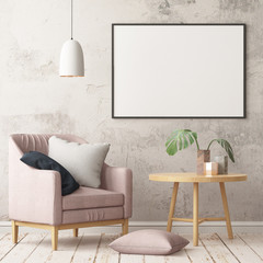 Mock up poster in the interior in the style of a lag with a chair. Scandinavian style. 3D rendering