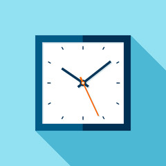 Clock icon in flat style, square timer on blue background. Business watch. Vector design element for you project
