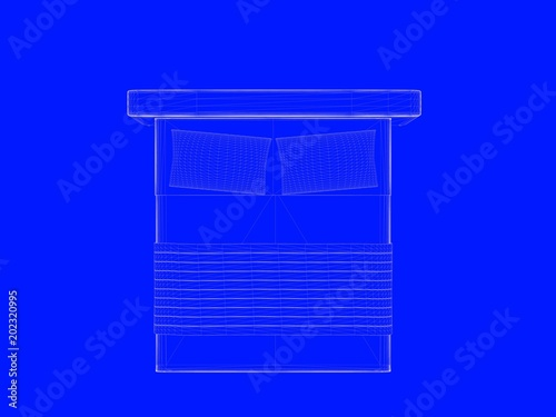 3d rendering of a bed blueprint as lines on a blue background stock 3d rendering of a bed blueprint as lines on a blue background malvernweather Gallery