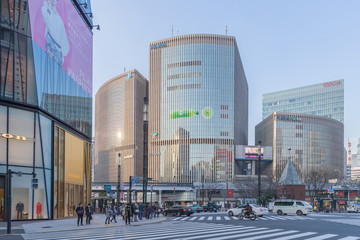 TOKYO, JAPAN - March 01 , 2017 : Cityscape in the Ginza District. The district offers high end retail shopping. Wall mural