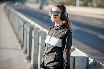 Sports woman portrait outdoors