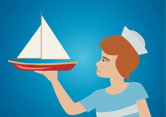 A young boy looking at his toy boat. Vector illustration