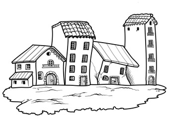 Cartoon style country village in black and white. Vector illustration