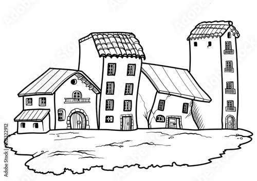 quotcartoon style country village in black and white vector
