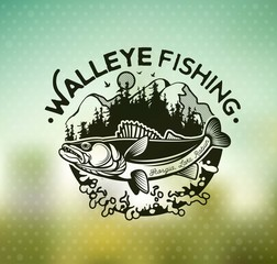 Vintage Walleye Fishing Emblems and Labels.