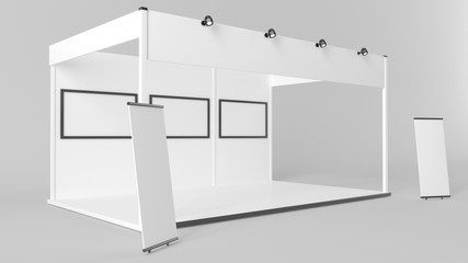 3d rendering of a white exhibition stand with light for different uses