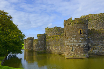Beaumaris Castle, Isle of Anglesey, North Wales, UK. It belongs among Castles and Town Walls of King Edward in Gwynedd - UNESCO World Heritage site.