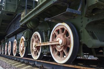 Wheels of vintage steam locomotive