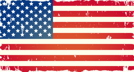 Vector American flag with grunge texture. American symbol of freedom. Background for national American holidays