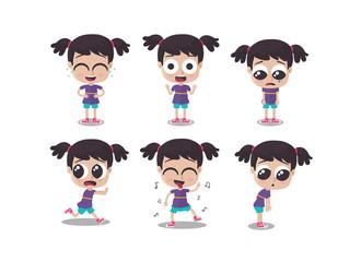 Ilustración de niña mostrando diferentes emociones