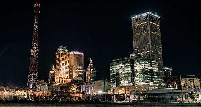 Night Skyline of Downtown Tulsa, Oklahoma