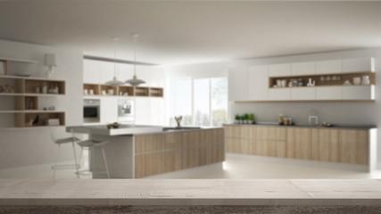 Wooden vintage table top or shelf closeup, zen mood, over blurred modern kitchen, white architecture interior design