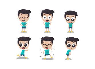 Ilustración de niño mostrando diferentes emociones