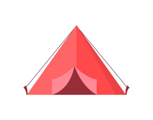 Red Tent with Open Door Vector Illustration
