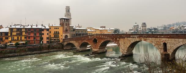 Verona Italy - Ponte Pietra and Adige River