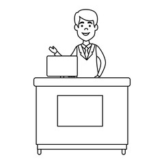 doctor professional in desk with computer avatar character vector illustration