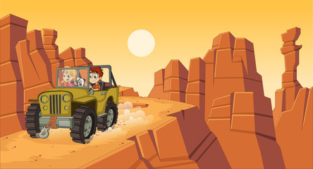 Cartoon children driving a car on the canyons.  Off road adventure.