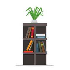 Bookcase with Books and Flowerpot on Top Vector