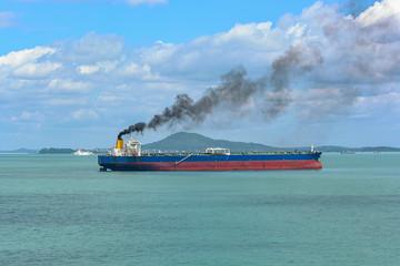 Ship discharging black smoke