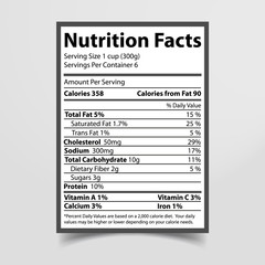 Nutrition Facts Piece of Paper Vector Illustration