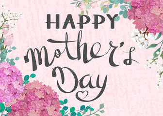 Happy Mother's Day. Congratulatory background with flowers