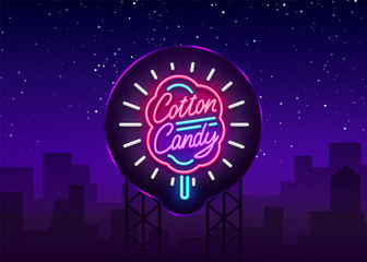 Cotton candy neon sign. Cotton candy logo in neon style symbol banner light, bright cotton candy night advertising, billboard. Design template. Vector illustration. Billboard