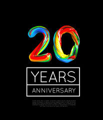 20th Anniversary, congratulation for company or person on black background