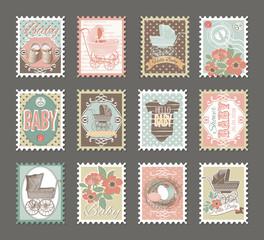 baby stamps set, baby stroller, frames, flowers