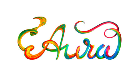 Aura colorful text, lettering design on white