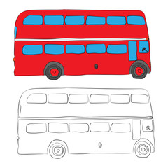 London bus contour drawing in pencil