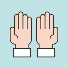 Prayer hands for ramadan, filled outline icon
