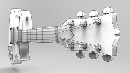 White electric guitar with black lines on gray background. 3d rendering.