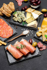 various type of italian meal or snack - cheese, sausage, olives and parma