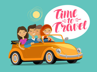 Happy friends riding retro car on journey. Travel concept. Funny cartoon vector illustration