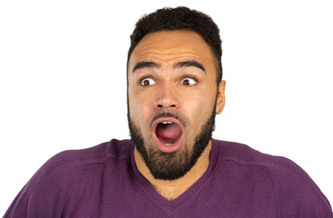 Young black nervous man in fear isolated on white background