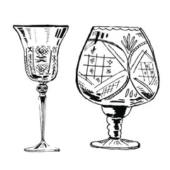 Vector hand drawn ink set of two wineglasses on white background