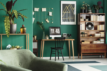 Hipster home office with computer